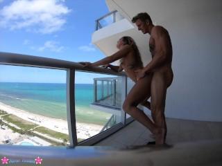 Ass teen caught fucking on balcony...