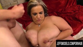 Mature BBW Cami Cooper Oils up Her Huge Tits and Rides a Tiny Man