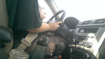 Chubby Girl Drives With Tits Out in The Afternoon