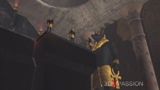 Anubis fucks a young egyptian slave in his temple