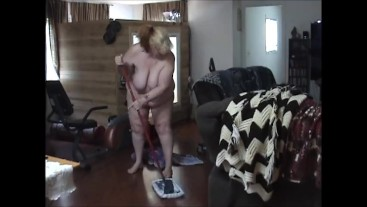 """BBW cleaning house in the nude bending over showing off 60"""" ASS - Not HD"""