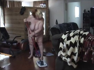 Bbw cleaning house nude showing off 60 ass...