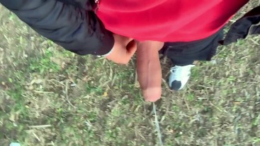 Piss with erection at a cruising area