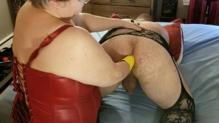 Giant speculum for young man and hard fist with rubber gloves