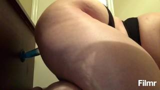 Side view of chubby girl fucking herself