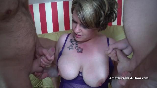 Bi guys fuck a chubby wife together 36