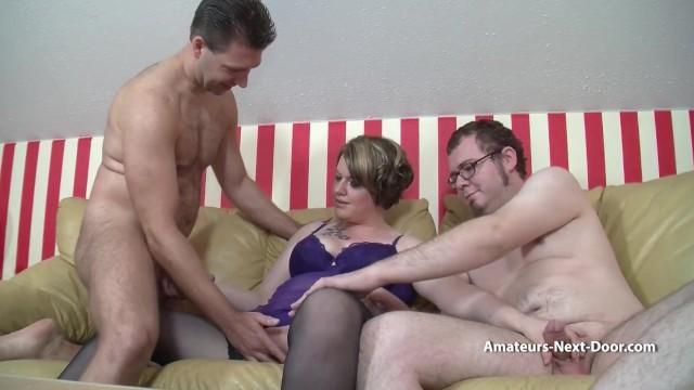 Bi guys fuck a chubby wife together 10