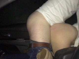 Gorgeous girlfriend has hot car sex, front seat fuck with perfect big ass