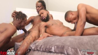4 Giant BBC's Suck Dicks and Fucks a Willing Bottom - Covered in Cum
