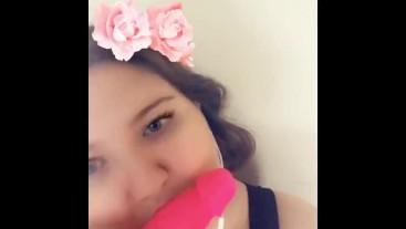 Pink Dildo Blowjob