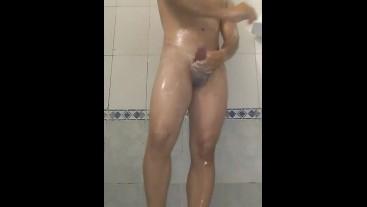 Young Latino takes a shower to masturbate solo - BlackMrqz94