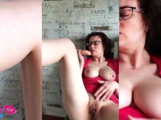 Sexy MILF Masturbate Pussy Dildo in the kitchen
