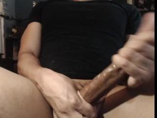Lots of Cum on Black Shirt