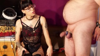 Beth Kinky - Sexy goth domina spank & painfully play with slave cock HD