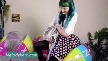 School bully Blow to POP, Inflatable Intex Balls Destroyed by Melody