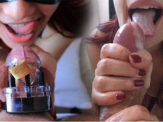 Huge Cum Flow After 65 Days Of Chastity Locked Up