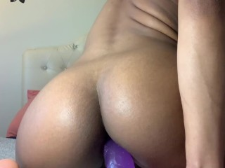 18 Year Old Black Teen Khloe Kxxxng Rides Dildo