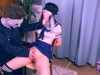 Teen Student Halloween vid: Michael Myers Kidnaps and abuses teen asian student (Halloween trailer)
