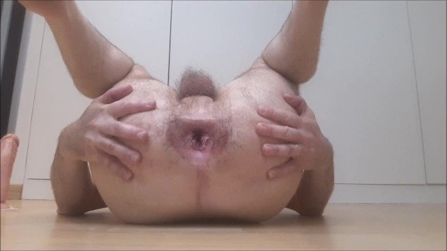 Gay hard guy First dp for straight guy - watch me try hard and succeed using two dildos