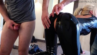 Hardcore Bitch in Latex MMF gets fucked in three holes - Cum battle