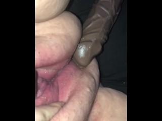 BBW pussy squirts on BBC dildo