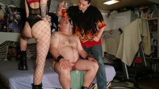 Beth Kinky - Fat slave drink our fresh warm spit from glass pt2 HD chubby mature homemade