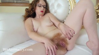 ana Molly masturbates with her glass dildo