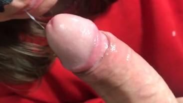 Brunette Sucks a Huge Dick And Swallows Cum. POV