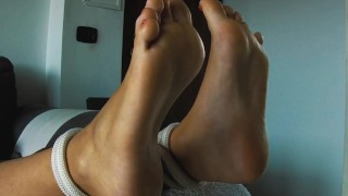 WIFE LOVES TO BE TICKLED! Horny tied MILF begs to be tickled on her foot !