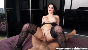 A meaty brunette with a giant and delicious pussy