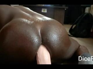 Black gay bottom plays with 12 inch dildo...