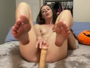 Sensual blowjob & footjob before fucking and begging for cum on my toes!! young couple homemade porn