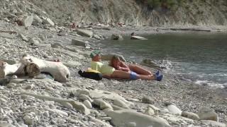 Travel blogger met a nudist girl. Public blowjob on the beach in Bulgaria.