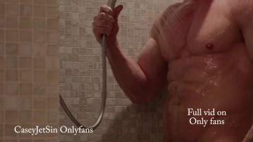 Fitness model soaps up gets clean in shower