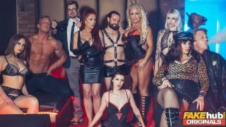 Fake Sex Club Busty real MILF blonde and redhead threesome
