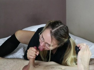 Glasses Teen Sloppy Blowjob And Swallow Cum