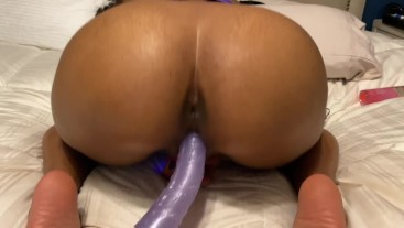 Exotic Babe With Fat Ass Riding Huge 12inch Dildo Squirting Soaks Bed 4K