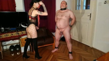 Beth Kinky - Sexy goth domina cbt & dick spanking fat slave pt2 HD
