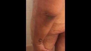 Sexy BBW takes shower to wash off daddy's cum