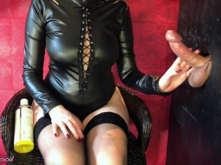 Gloryhole Edging Session Ends With Huge Cumshot On Nylons