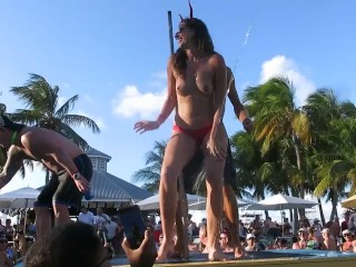 Sexy slut topless dance at fantasy fest pool...
