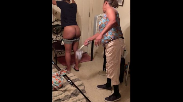 Mrs wallace spanked Angie spanks girl for wearing sweat shorts to school