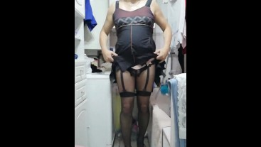 Patty crossdresser bodystocking compilation