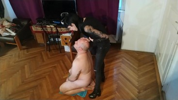 Beth Kinky - Sexy goth domina spitting on her slave's face pt1 HD