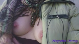 Very quick breast show in fitness elevator: Magretta Dering boob flashing