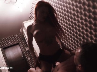 Redhead Blowjob Big Dick Stranger and Rough Sex in the Hallway