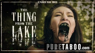 Screen Capture of Video Titled: PURE TABOO Bree Daniels Lesbian Licking the Thing From the Lake