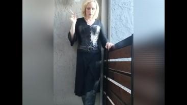 Smoking blonde goth.