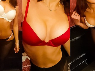 Hot girlfriend with perfect tits tries bras room...