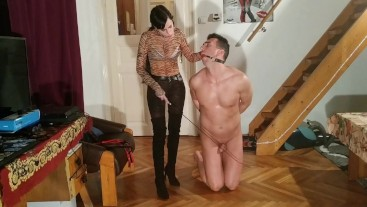 Sexy goth domina caning slave's penis cbt pt1 HD